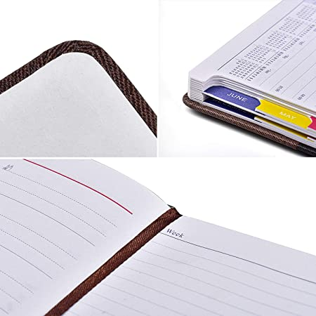 152 Sheets Loopdi A5 Notebook Hardcover Diary 2020 100gsm Premium Paper Good for Study and Work PU Leather Month View Bookmark Schedule Planning 304 Pages Day to Page