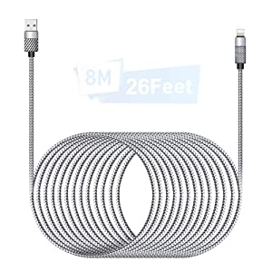 Extra Long iPhone Charger Cable 26ft/8M iPhone Charger Cord [MFI Certified] Lightning Cable 16 Foot Nylon Braided iPhone Fast Charging USB Cable for iPhone12/11/XS/Max/XR/X/8/8P/7P/6/iPad/ipod-Silver