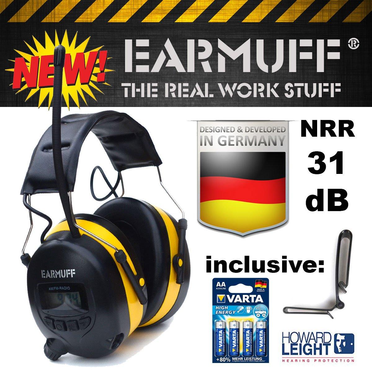 31dB 'EARMUFF' Casque de chantier anti-bruit avec tuner radio FM AM intégré et prise AUX + clip de ceinture et 4piles Varta 31000