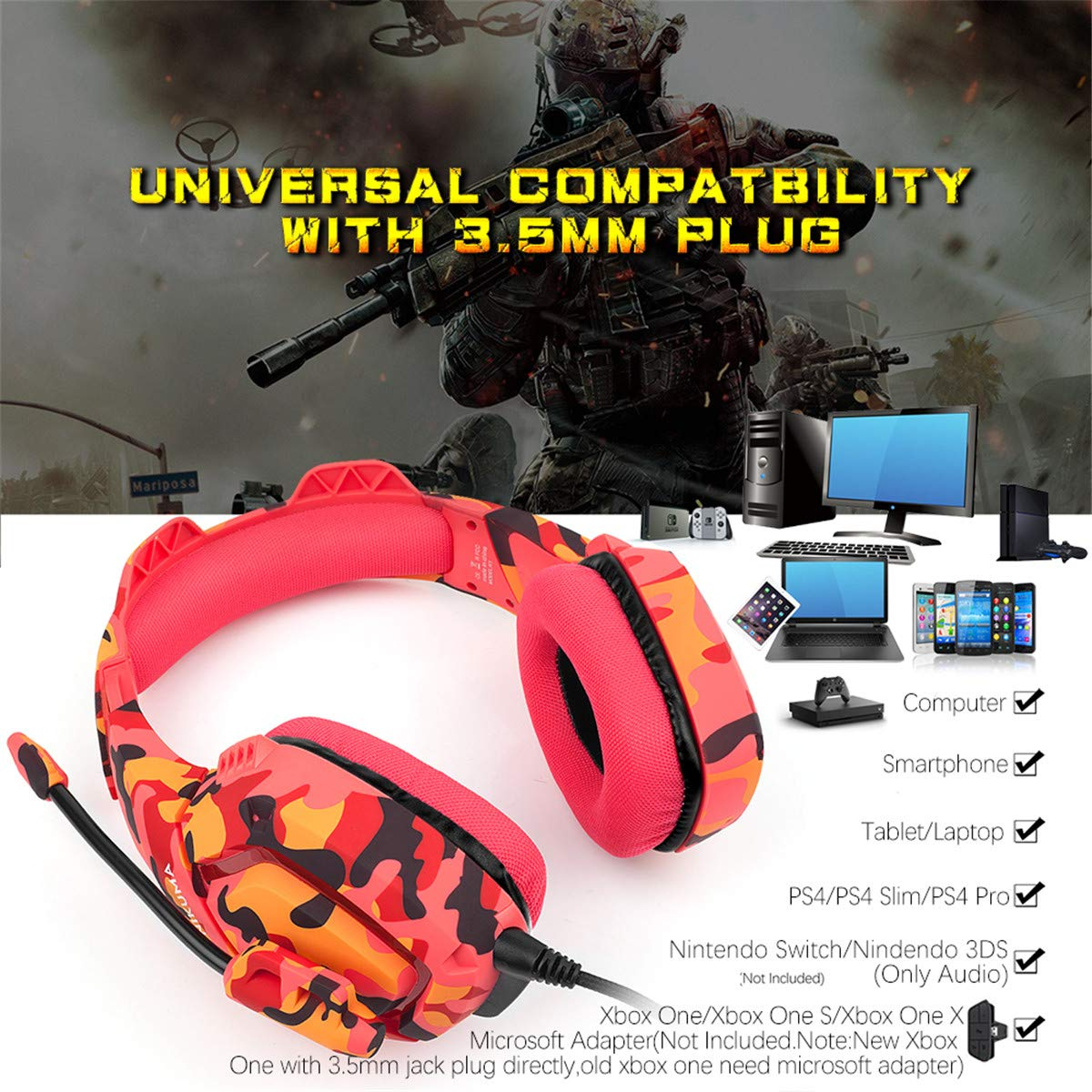 Gaming Headset for PS4,Xbox One,Nintendo Switch Only Audio ,ONIKUMA PC Stereo Noise Cancelling Over Ear Headphones with Mic, Compatible with Playstation 4,Laptop,Tablet,Smart Phone Red Camo