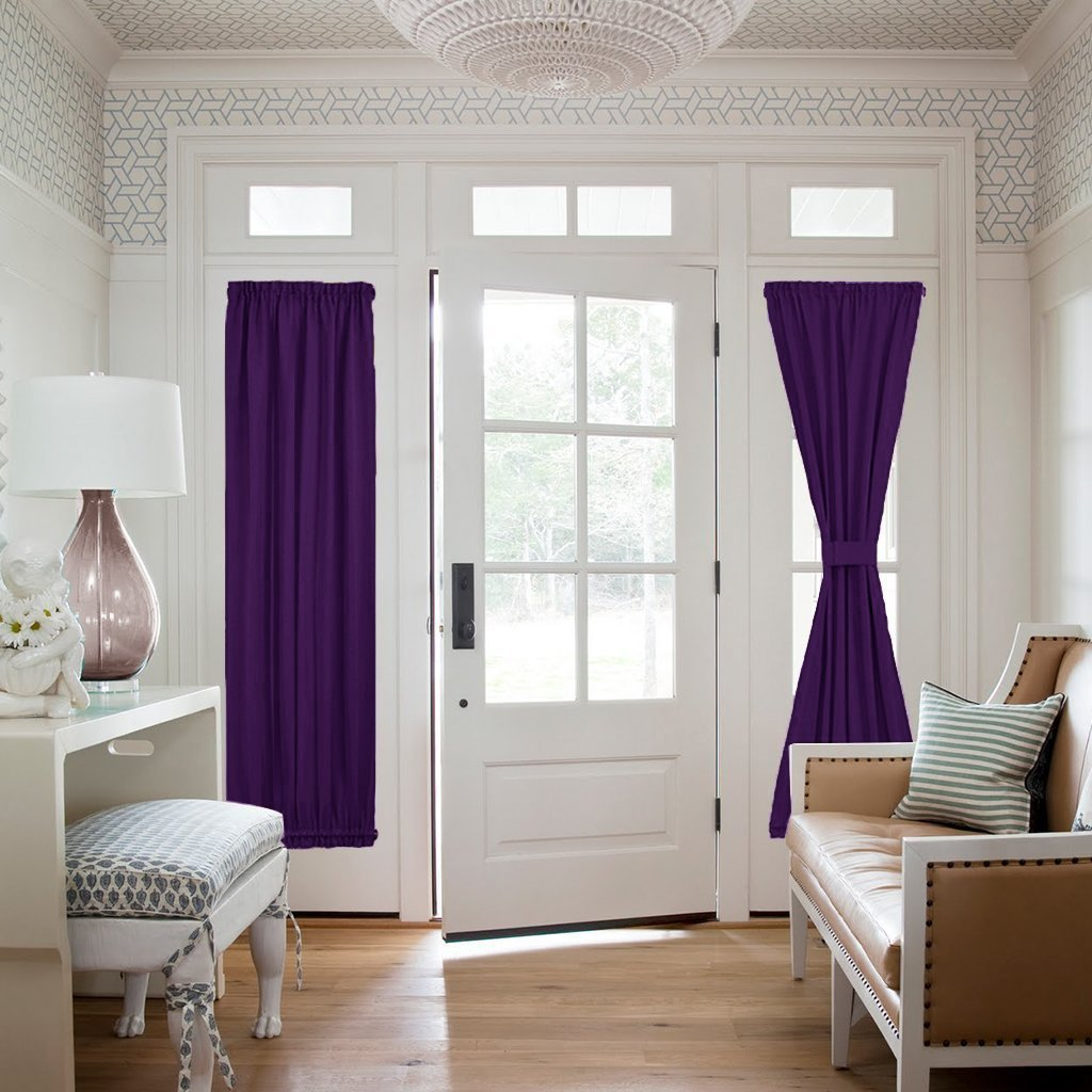 "Elegant Comfort 2-Piece SHEER Window CURTAIN/PANEL with 2"" ROD POCKET - Window Curtains Eggplant"