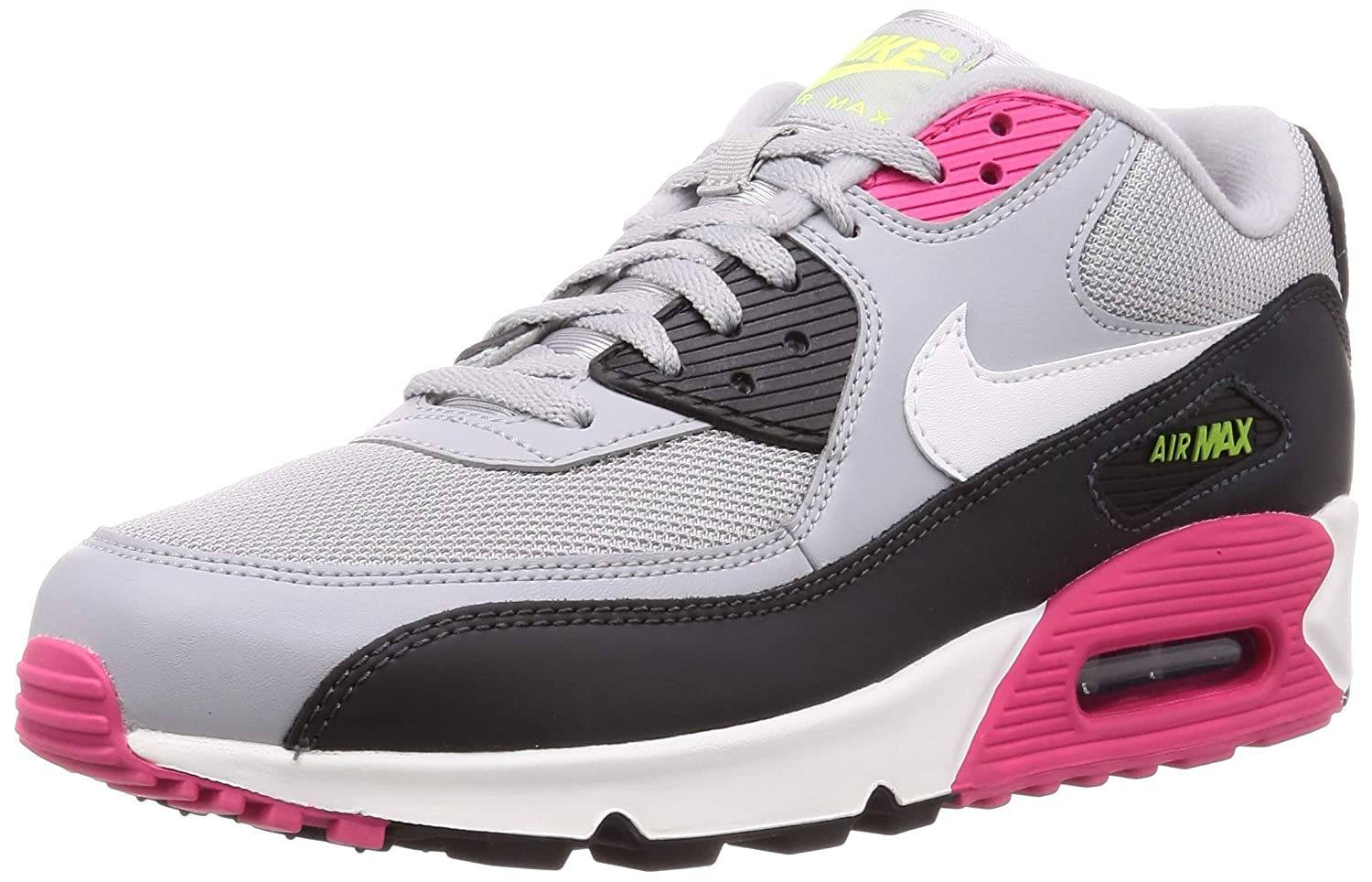 Nike Air Max 90 Essential Mens Shoes Wolf GreyWhiteRush PinkVolt aj1285 020 (7.5 M US)