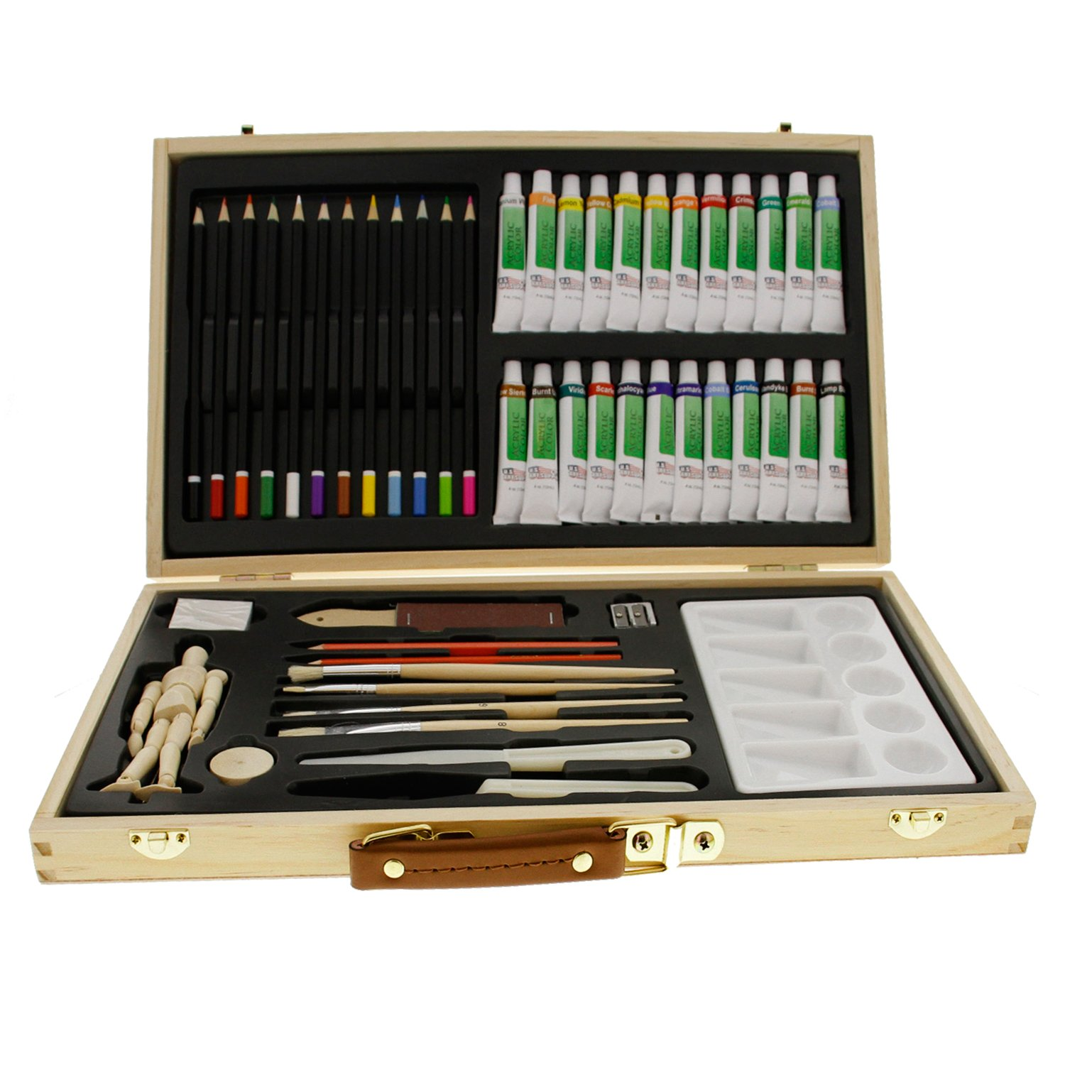 US Art Supply 50-Piece Acrylic Painting Set with, Wood Storage Case, 24-Tubes Acrylic Colors, 12 Colored Pencils, 2 Graphite Pencils, 4 Artist Brushes, 5.5'' Manikin, Palette Knives, Eraser, Pencil Sharpener, Plastic Palette with 10 Wells-Great Student Art