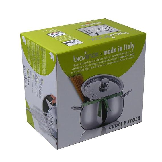 Inoxriv Set Pasta Cuociscola BIOINOX - Acero Inoxidable, Plata, 24 x 24 x 15 cm, Diametro 20 cm: Amazon.es: Hogar