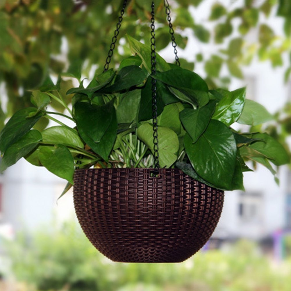 Hanging Planter Baskets, Hanging Plant Pot with Drainage Self Watering Indoor Outdoor Round Flower Pot Garden Balcony Patio Home Decoration, Set of 2 (Brown)