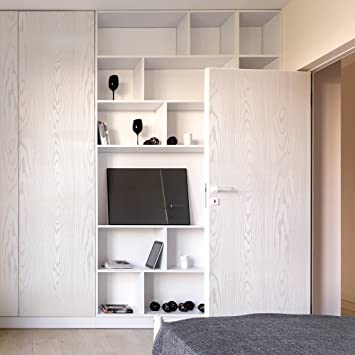 Selbstklebende Möbelfolie Mit 3D Holz Optik In Weiß U2013 Dekorieren Sie Möbel,  Wände,
