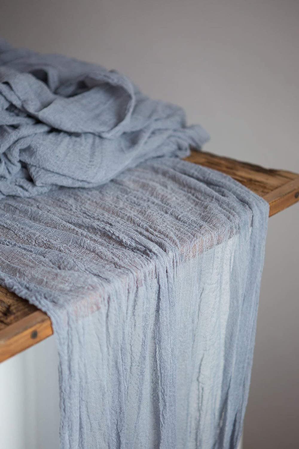 Dusty blue rustic wedding gauze cotton table runner 27 x 52ft Cheesecloth boho party decoration rustic candle runner reception top table overlay sweetheart table decor