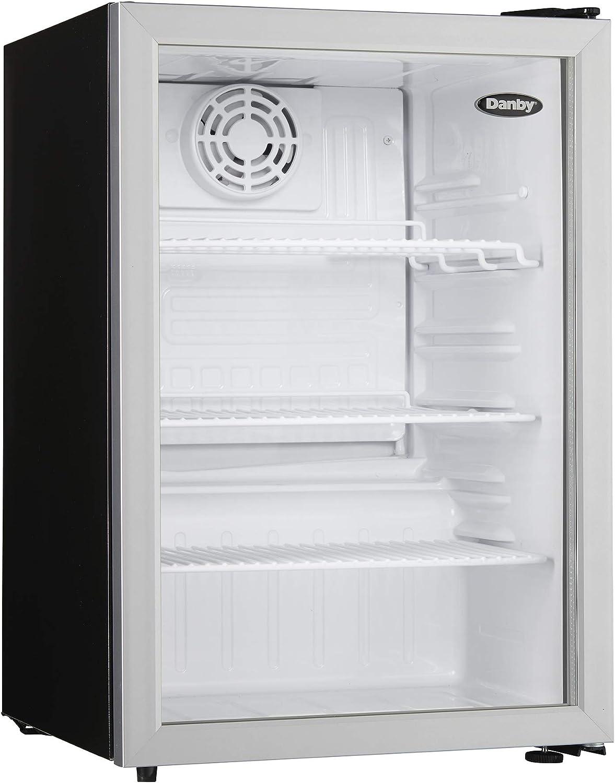 Danby DAG026A1BDB Commercial All Glass Door Compact Refrigerator, silver