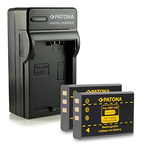 PATONA 4en1 Cargador + 2x Batería NP-120 para Fujifilm FinePix F10 F11 M603 y mucho más