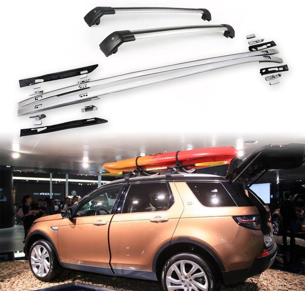 Kit de rieles de techo de barra transversal de 4 piezas para Land Rover Nuevo Discovery Sport 2015-2020 Portaequipajes con cerradura Montado con llave antirrobo Plata: Amazon.es: Coche y moto