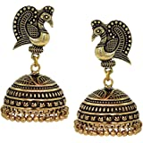 V L IMPEX Dancing Peacock Black Metal Gold Palted Oxidized Jhumki Earrings For Women
