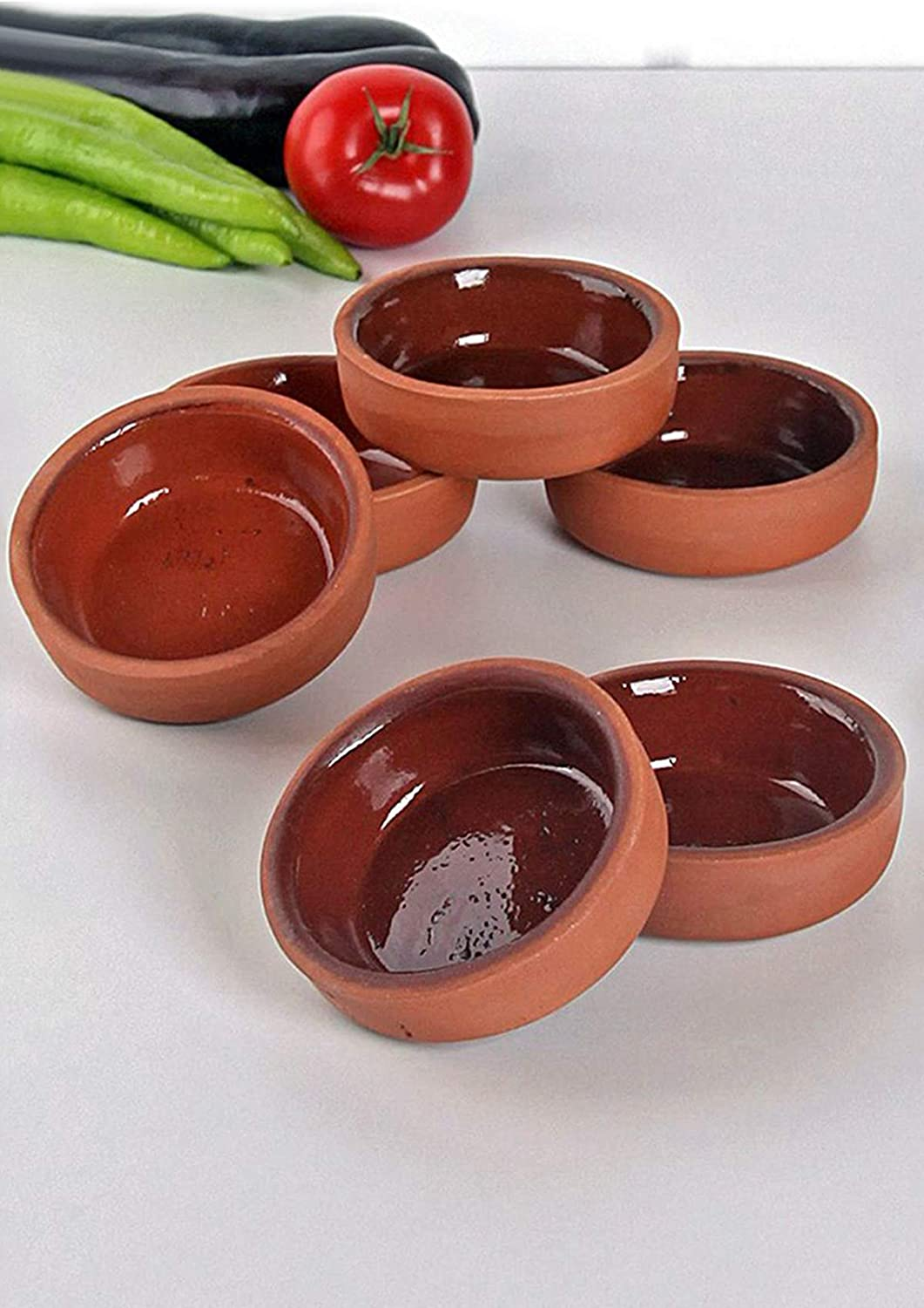 BAYKUL Handmade Clay Pot for Cooking, Pinch Bowls Set of 6, Dinnerware Terracota Bowl Finger Small Food Serving 4-Inches, Turkish Mexican Plates, Decorative Soy Sauce Dish (Set of 6)
