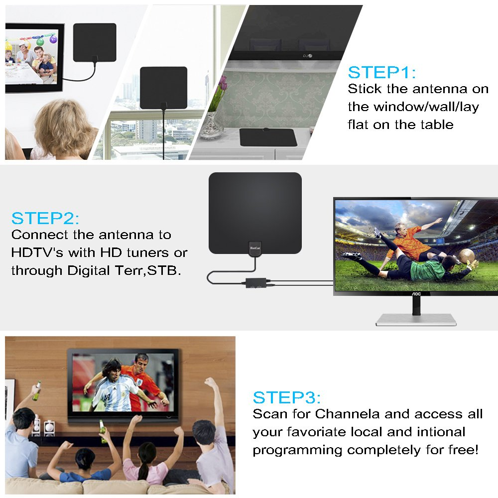 HDTV Antenna, Indoor Digital Amplified TV Antenna 70-100 Miles Range with Adjustable Amplifier Signal Booster 4K1080P HD VHF UHF Freeview for Life Local Channels Support ALL TV's -16.5ft Coax Cable by HotCat (Image #6)