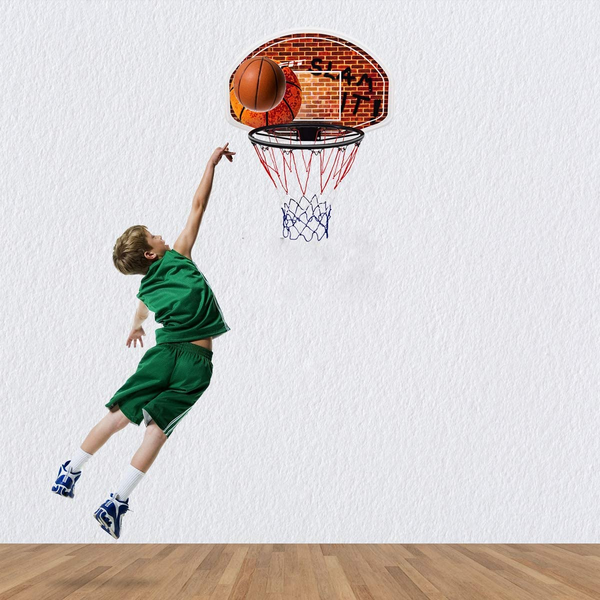 Goplus 29 x 20 Mini Basketball Hoop Wall Mounted Portable Basketball Backboard Indoor Outdoor Sports Suitable