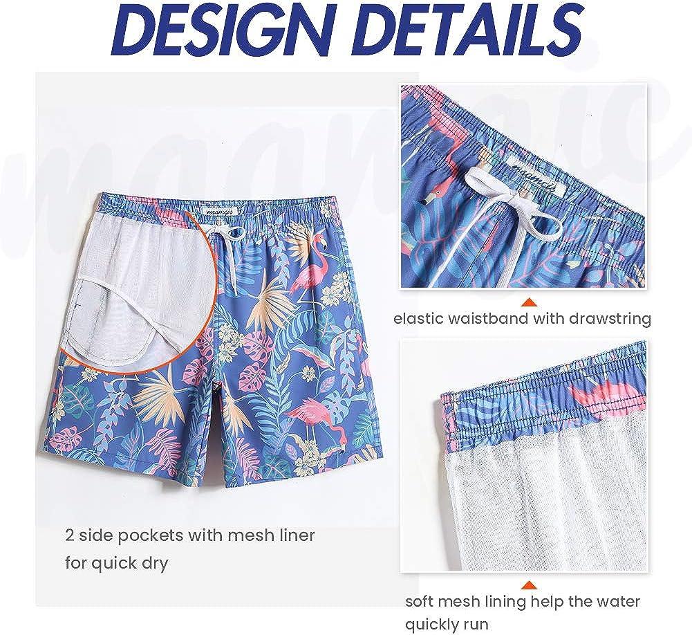 MaaMgic Mens Quick Dry 4 Way Stretch Swim Trunks Mesh Lining Swimwear Bathing Suits