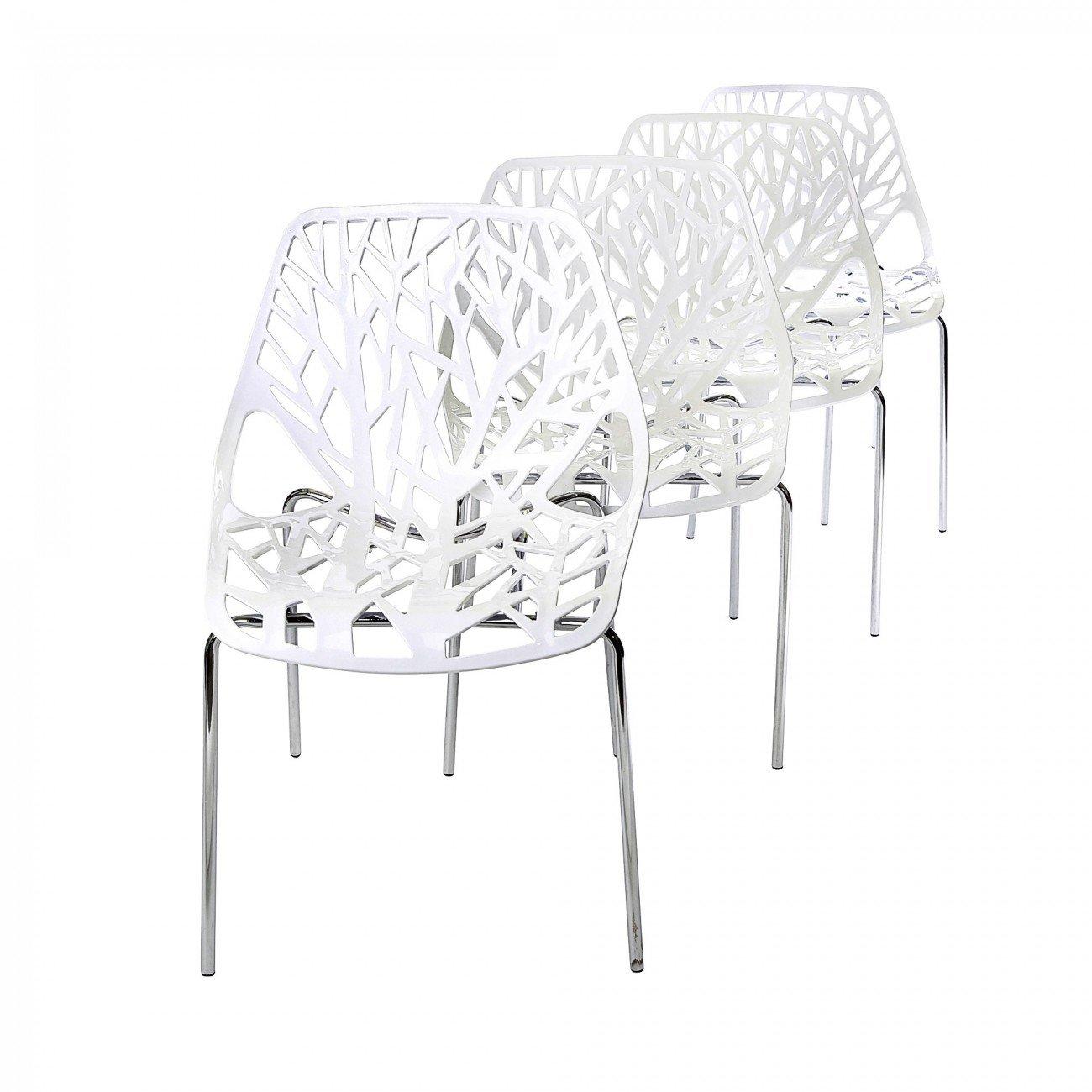 Makika Chaise de Design Siège de Bureau Salle à Manger Salon Retro moderne CALUNA de 4 en Blanc