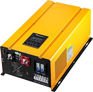 VEVOR Pure Sine Wave Power Inverter 6000W Low Frequency Inverter Peak 18000W Pure Sine Inverter Charger 48VDC 120VAC with Battery AC Charger,Off Grid Low Frequency Solar Inverter for Lithium Batteries