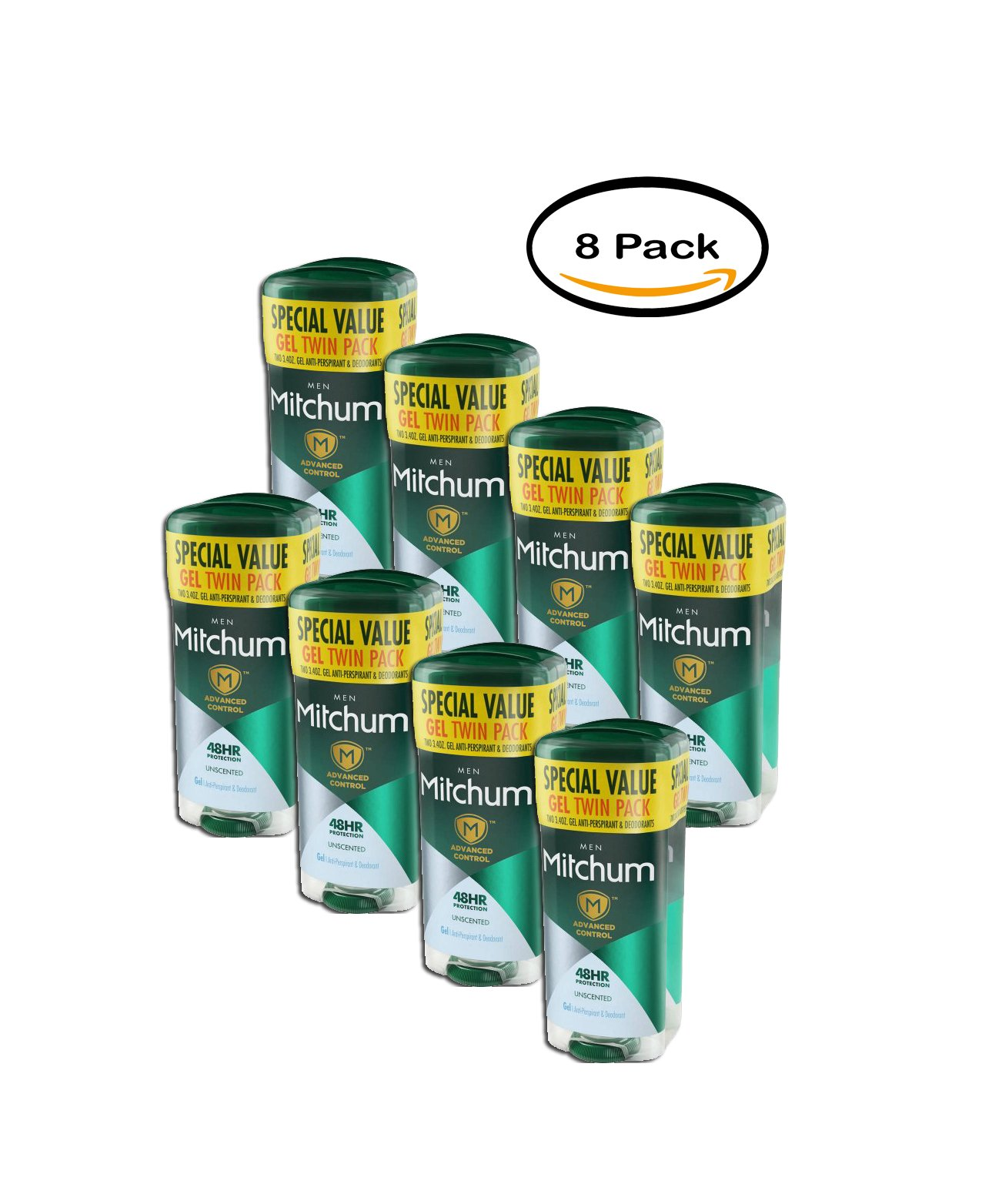 PACK OF 8 - Mitchum Men Advanced Unscented Gel AntiPerspirant&Deodorant3.4oz 2CT