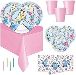 Alice in Wonderland Theme Birthday Tea Party or Baby Shower Supplies - Serves 16 - Tablecover Decoration, Plates, Cups, Napkins and Candles