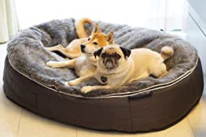 Large Sized, Luxury Dog Bed by Ambient Lounge. Thermal Bed Filling + hygienic, Washable, Faux Fur Cover + chew-Resistant Waterproof Base