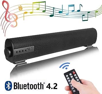 QSPORTPEAK Barra de Sonido, Altavoz, Bluetooth Altavoz con Cable e ...