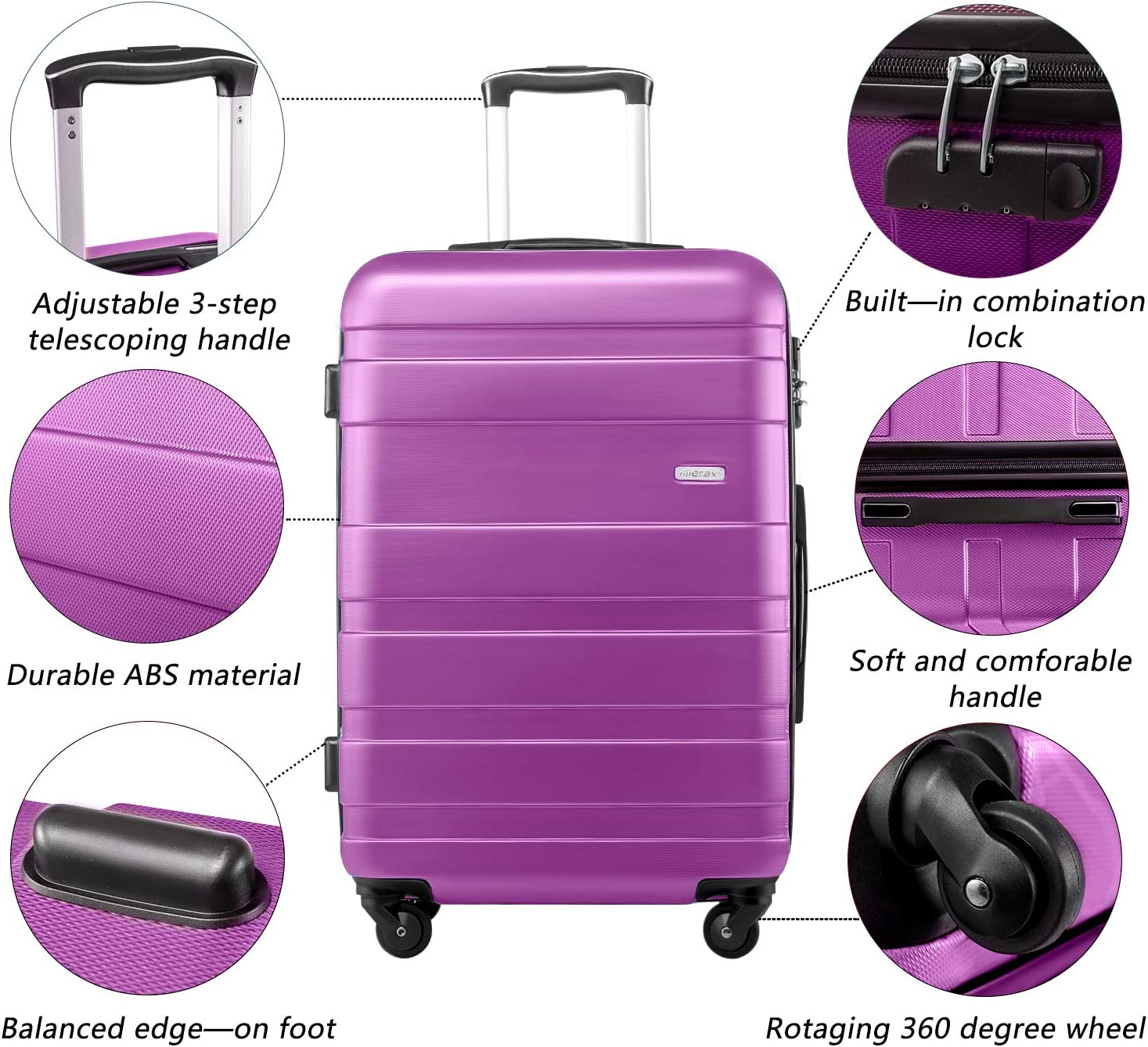 S, Blue Merax Lightweight Luggage Hard Shell 4 Wheels Travel Trolley Suitcase Holdall Cabin Case