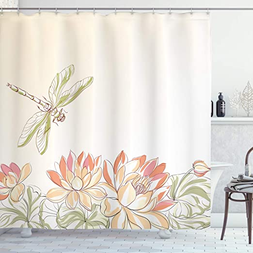 Amazon Com Ambesonne Dragonfly Shower Curtain Lotus Flower Field