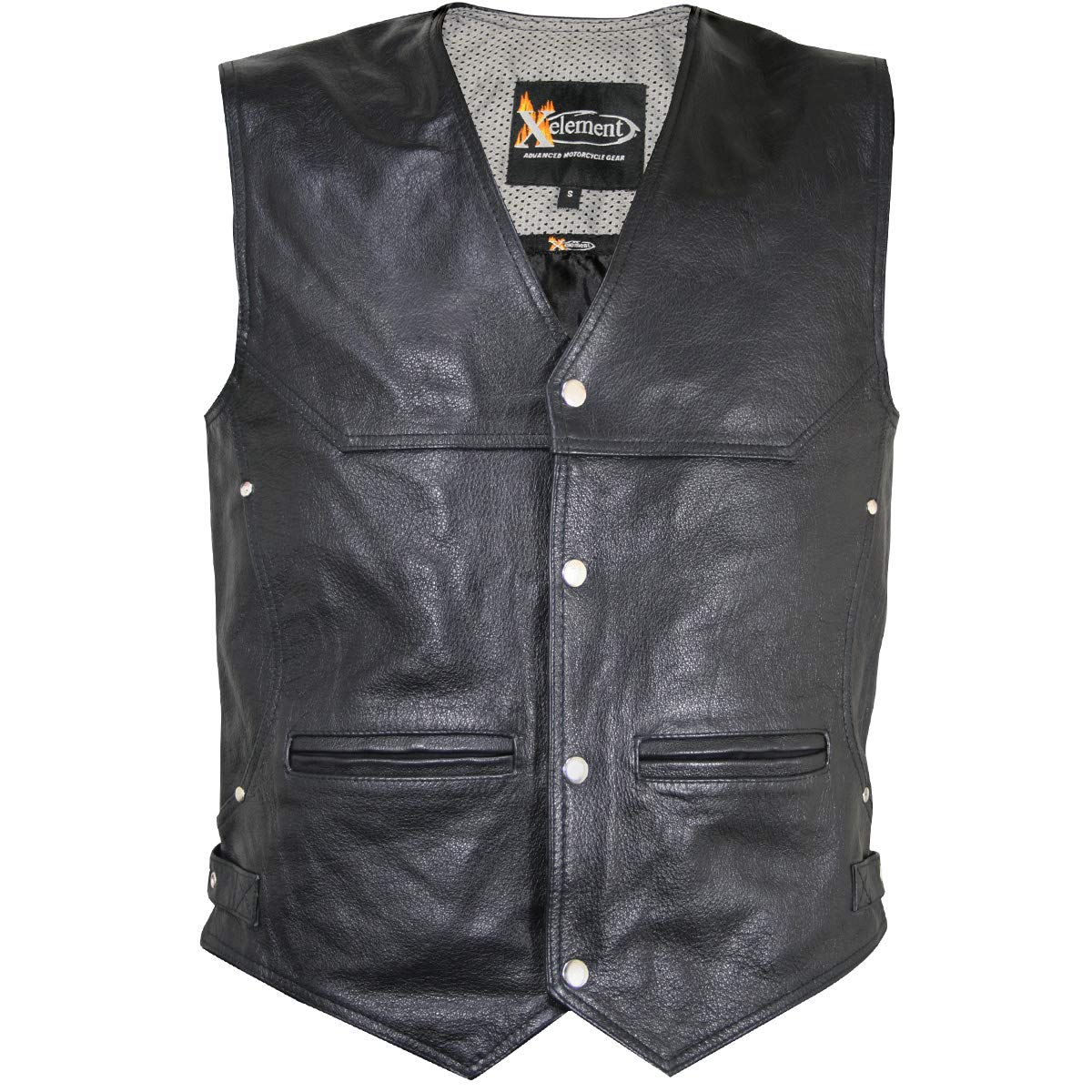 Xelement XS1927 'Road King' Men's Black Leather Biker Vest - Large by Xelement