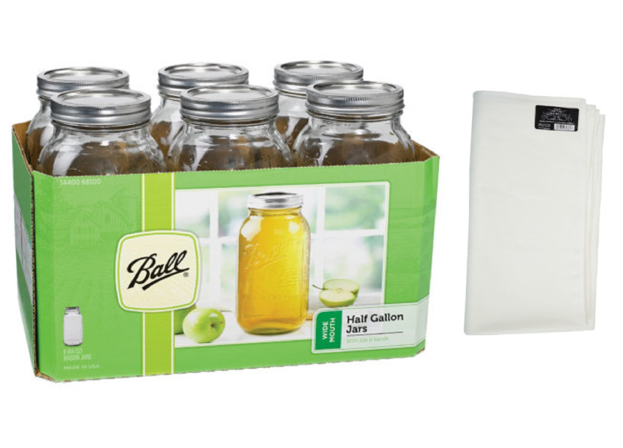 Ball 64 Oz Half Gallon Clear Wide Mouth Glass Canning Jars - 6 Pk