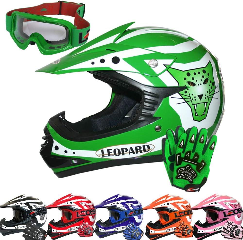 Leopard LEO-X17 Children Kids Motocross Dirt Bike Off Road Motorbike Helmet /& Gloves /& Goggles