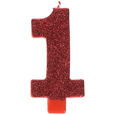 "Amscan 170330#1 Red First Birthday Glitter Numeral Candles, 5"": Kitchen & Dining"