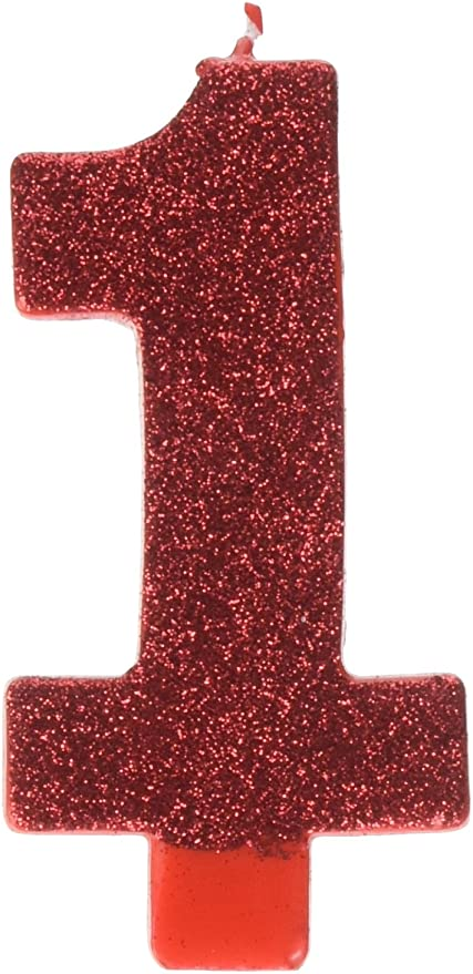 Amazon.com: # 1 Rojo para Primer Cumpleaños de Glitter Vela ...