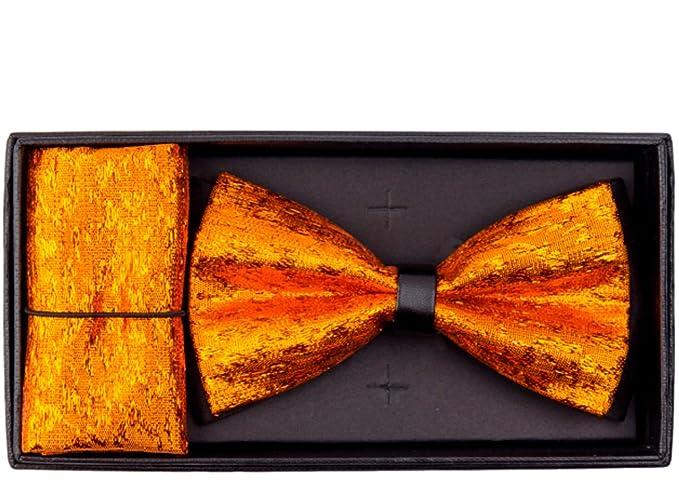 de907affb0c3 Men's Metallic Banded Pre-Tied Bow Tie and Handkerchief Set (Orange ...
