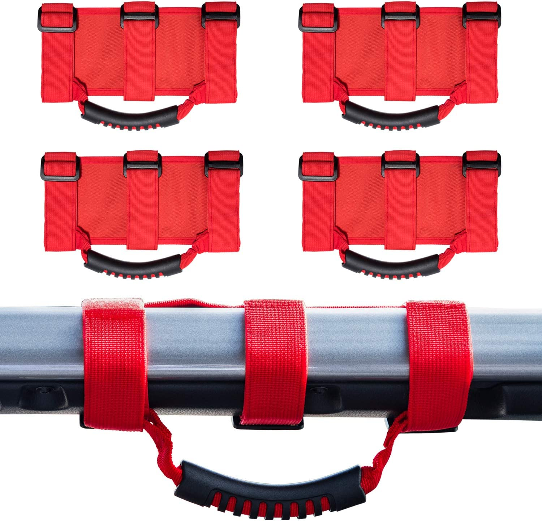 2pcs Red Grab Handles Grip Handle For Jeep Wrangler YJ TJ JK JKU Sports Sahara