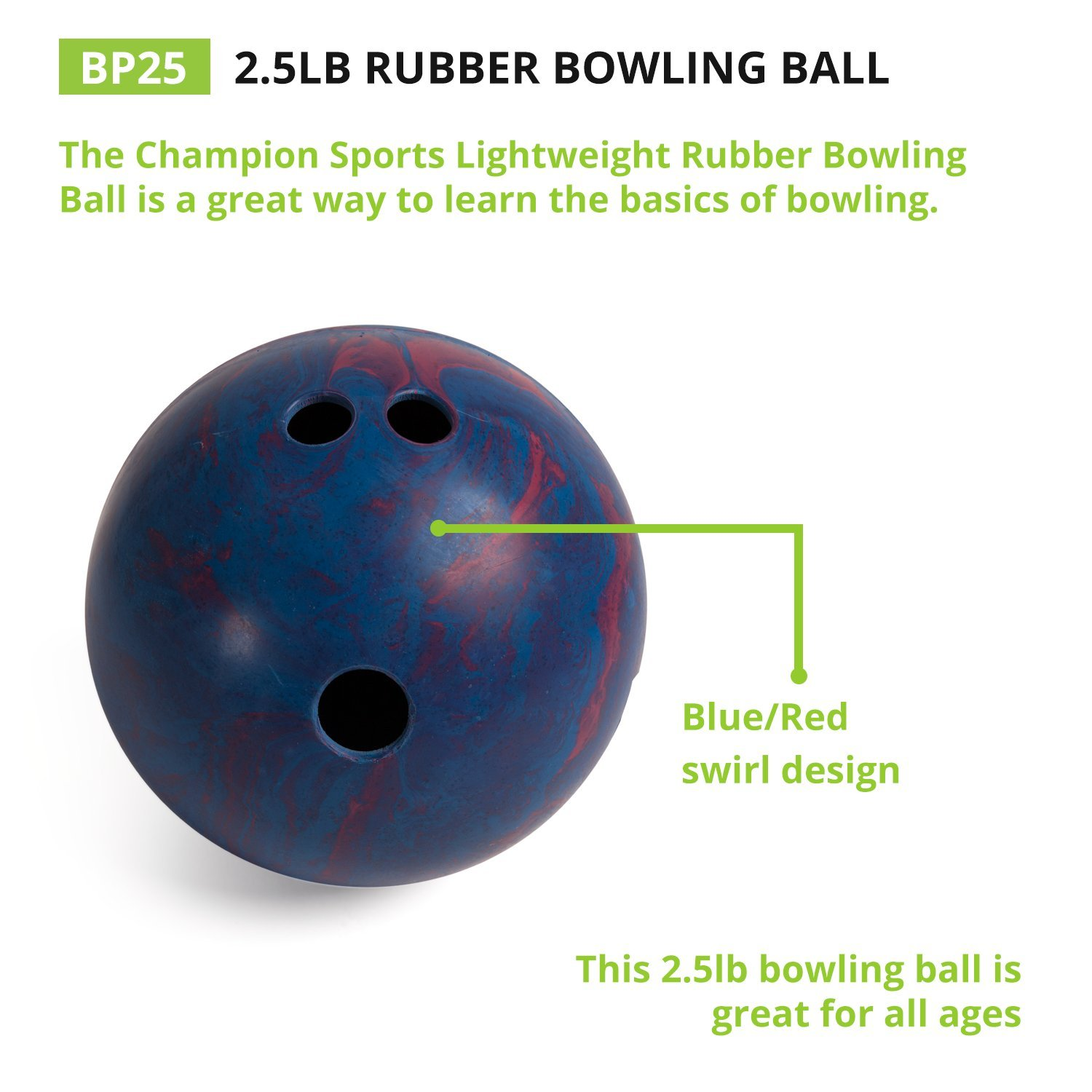 amazon com champion sports rubber bowling ball lightweight soft