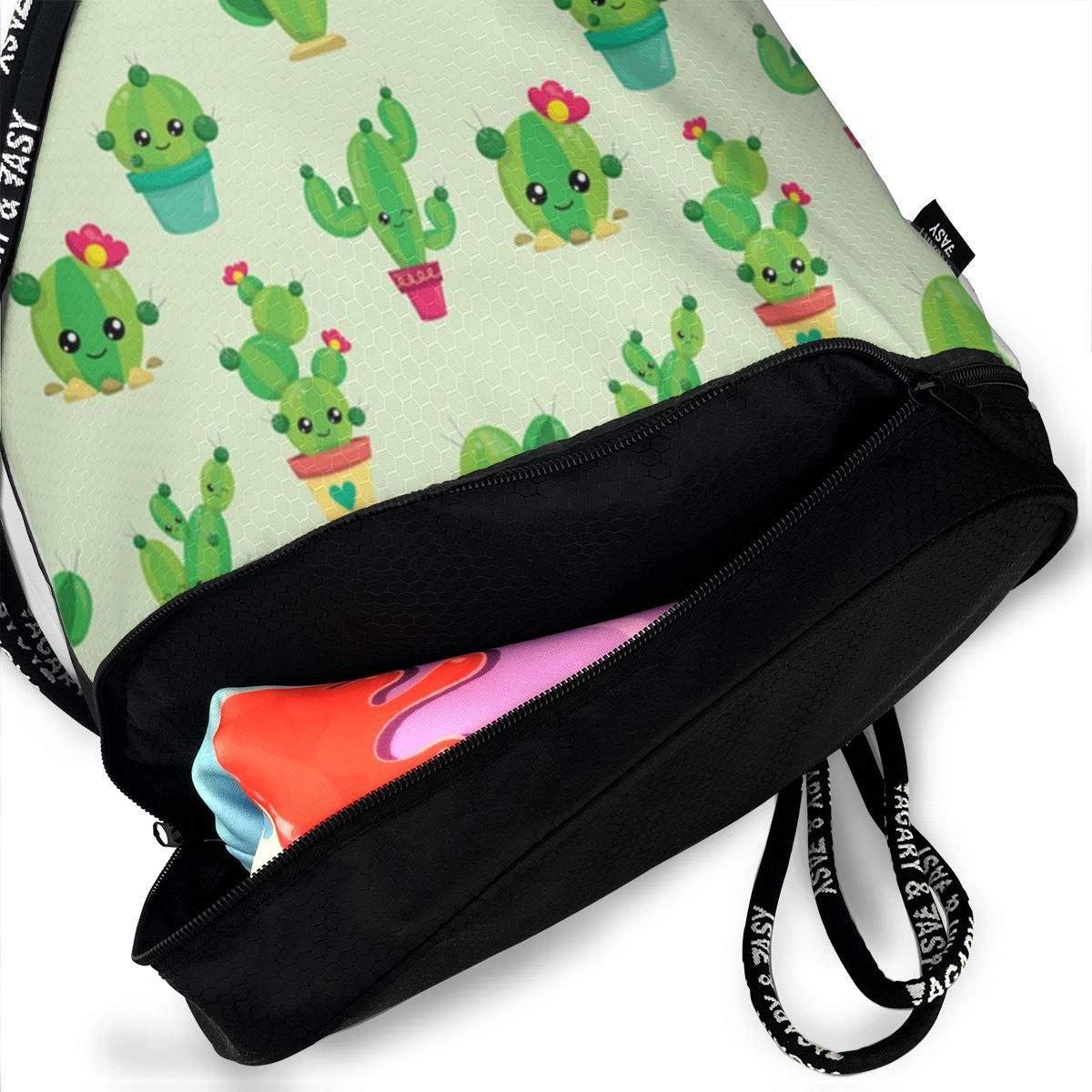 Cute Cartoon Cactus Multifunctional Bundle Backpack Shoulder Bag For Men And Women