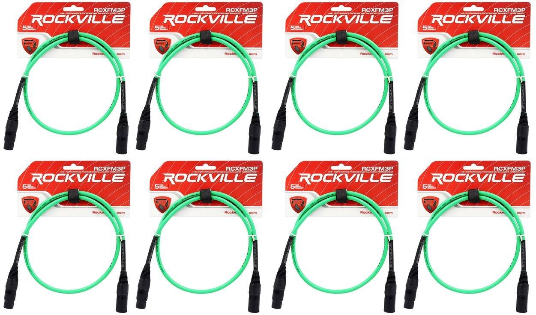 8ロックビルrcxfm3p-gグリーン3 'メスtoオスREAN XLRマイクケーブル100 %銅 B01N8P9CN6