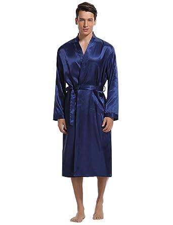 6c085502de0b11 Aibrou Herren Morgenmantel Bademantel Lang Satin Nachtwäsche Kimono  Sleepwear V Ausschnitt mit Gürtel Blau S