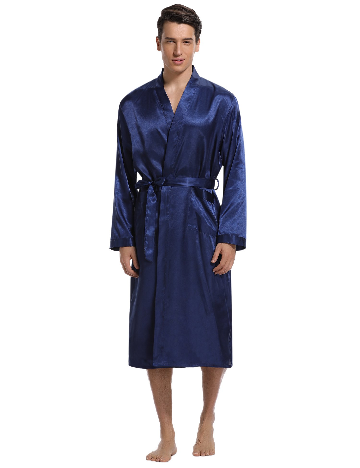 Aibrou Men's Satin Robe Long Bathrobe Lightweight Sleepwear,X-Large,Blue