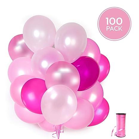 100 Globos rosas de látex + Cinta rosa + Soportes + Pegatinas de pared de globos | 5 colores mezclados | Fiesta rosa, Primera Comunion, Bautizo Niña, ...