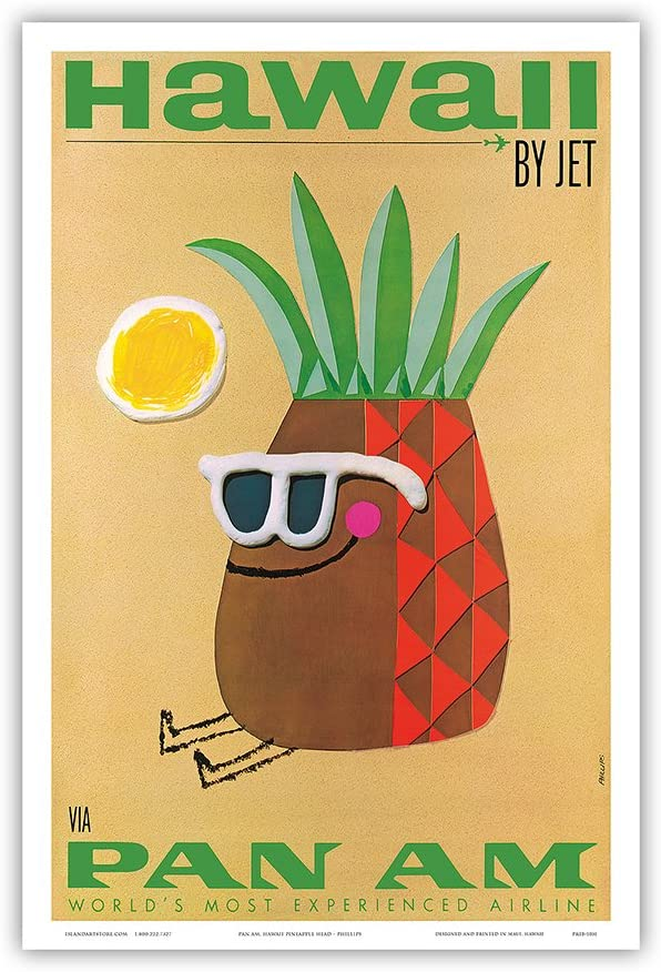 Hawaii by Jet - Mr. Pineapple Head - Pan American World Airways - Vintage Airline Travel Poster by Phillips - Master Art Print 12in x 18in