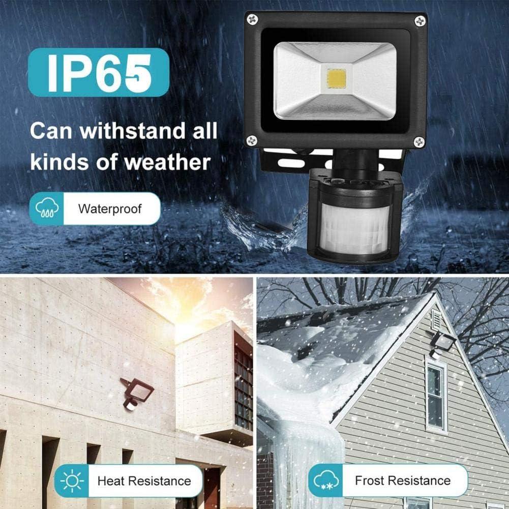 jard/ín y patio delantero Luces de seguridad de 10 vatios con sensor de movimiento IP65 a prueba de agua luces de inundaci/ón con sensor LED de 1000 l/úmenes s/úper brillantes al aire libre para garaje