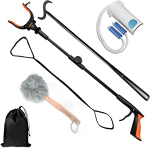 "7 Pieces Hip Knee Back Replacement Recovery Kit with 32"" Extendable Grabber Reacher Tool, Slick Sock Aid, Sturdy Long Shoe Horn & Dressing Stick, Leg Lifter, Bath Sponge, Storage Bag"