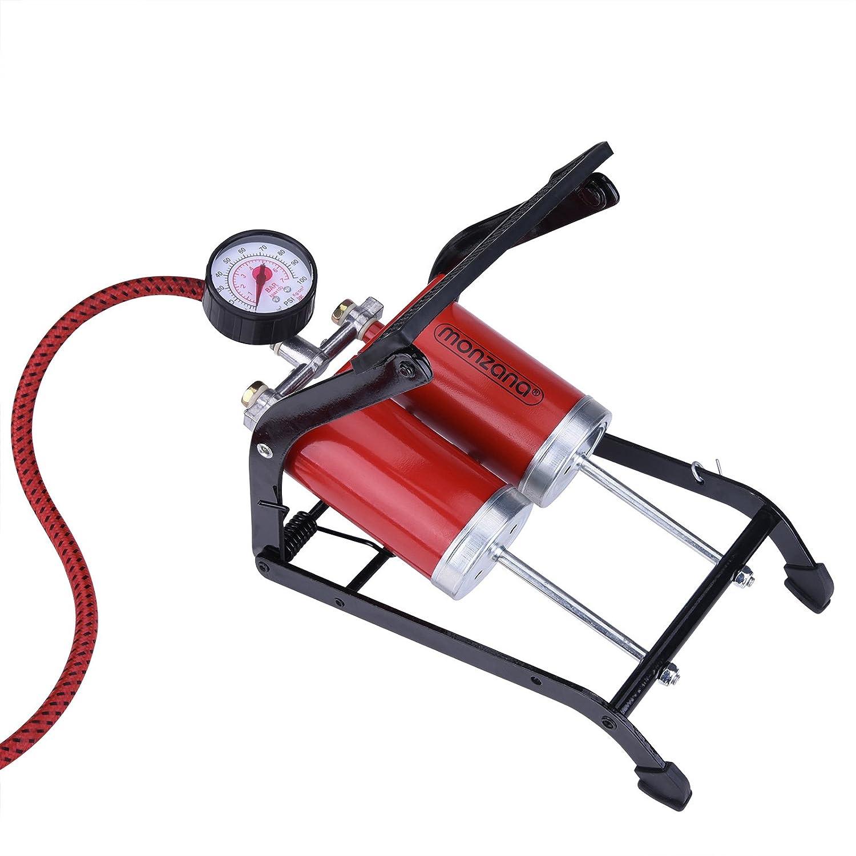 2 cilindros de 100x55mm Longitud de la manguera de 80 cm Set de 3 adaptadores Man/ómetro de hasta 7 bar // 100 PSI | Bomba de pie Pedal antideslizante Monzana