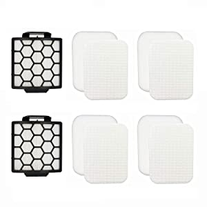 Colorfullife 2 HEPA +4 Foam Filters for Shark Navigator Pet Plus NV150, NV251,NV255 and Zero-M Self-Cleaning Brushroll Pet Pro ZU62,ZU62C,ZU60 Upright Vacuum, Replacement Parts 1238FT60 & 1239FT60