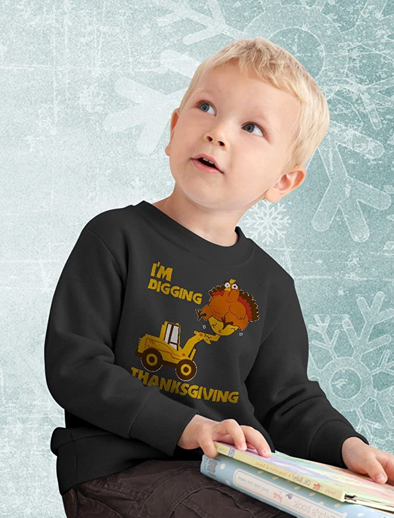 Im Digging Thanksgiving Funny Turkey On Tractor Bulldozer Kids Sweatshirt