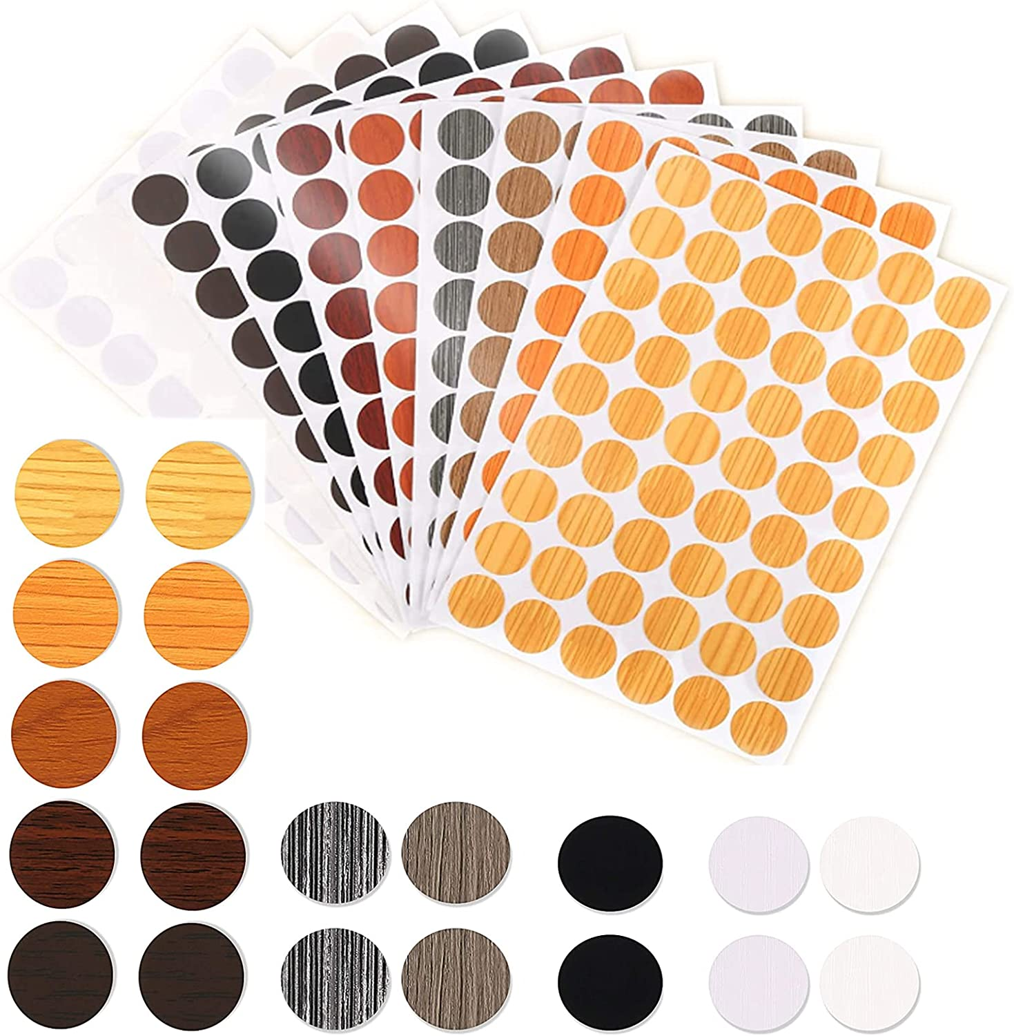 10 Sheets Screw Hole Covers Stickers Wall Decor, 10 Style Self-Adhesive Indie Furniture Stickers, Waterproof PVC Cover Caps Stickers for Wall Hole Furniture Repairing, Room Decor for Desk Cabinets.
