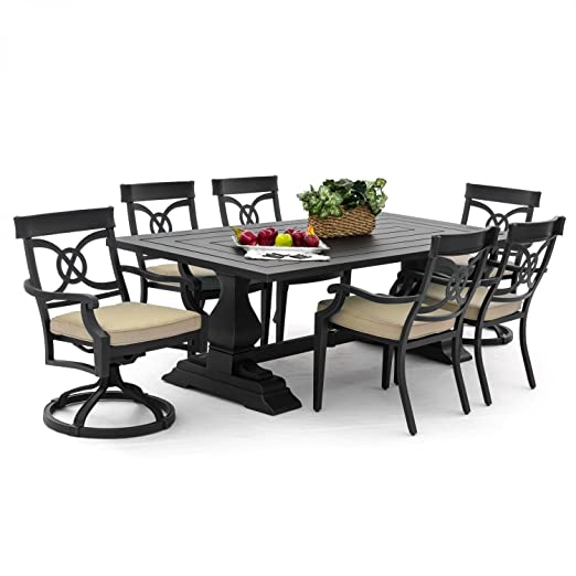 Amazon.com : Lakeview Outdoor Designs St. Charles 6 Person Cast Aluminum  Patio Dining Set With Cast Aluminum Table, Antique Black : Garden U0026 Outdoor