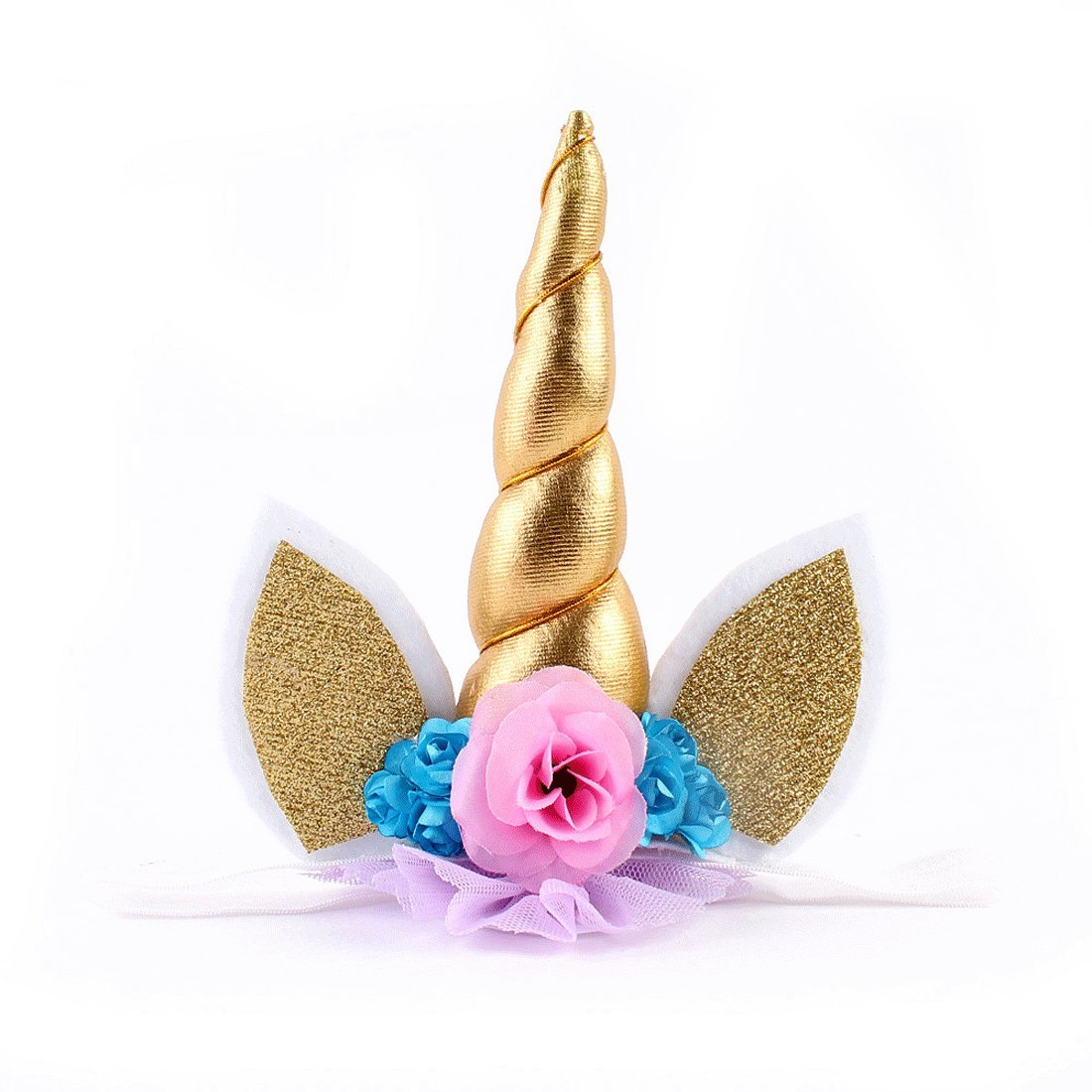 chang chang Unicorn Headband Unicorn Birthday Rose Flower Headband Unicorn Party Unicorn Photo Props (Gold)