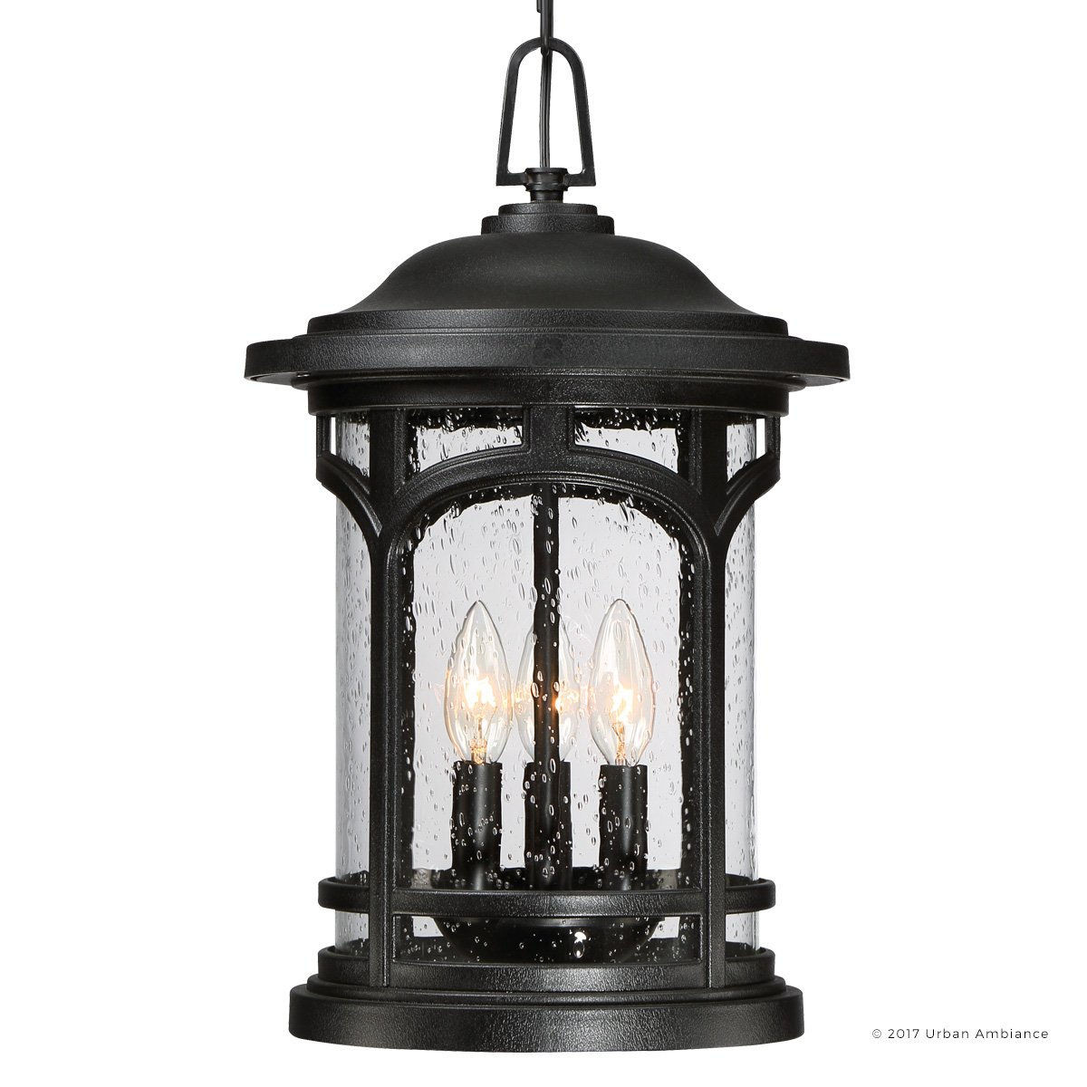 Luxury Rustic Outdoor Pendant Light, Large Size: 18''H x 11''W, with Colonial Style Elements, Wrought Iron Design, High-End Black Silk Finish and Seeded Glass, UQL1108 by Urban Ambiance